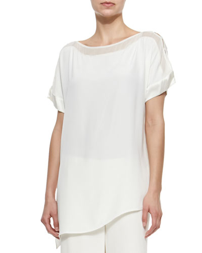 Silk Boat-Neck Easy Tunic, Women's