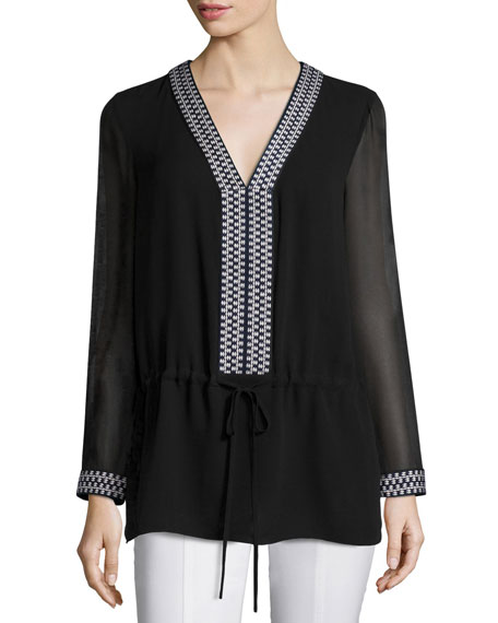 Tory Burch Long-Sleeve Drawstring Tunic