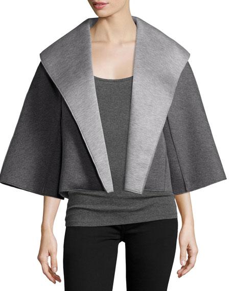 Natori Two-Tone Open-Front Jacket, Dark Gray