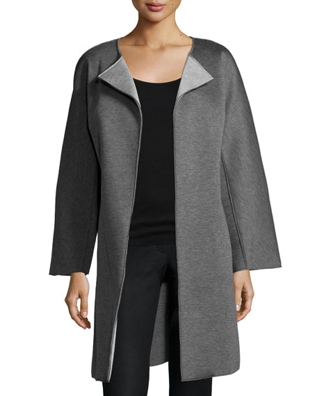 Natori Double-Face Long Jacket, Dark Gray
