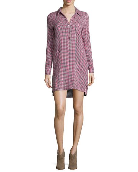 Velvet Allison Long-Sleeve Shirtdress, Red/Blue