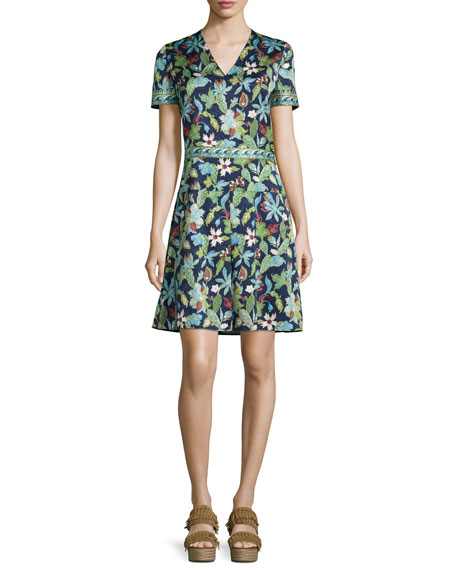 Tory Burch Garden Wisteria-Print Silk Dress
