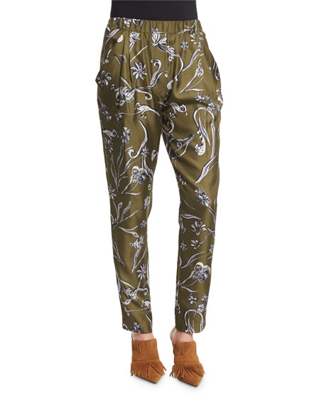 3.1 Phillip Lim Floral Silk Tapered Trousers, Dark