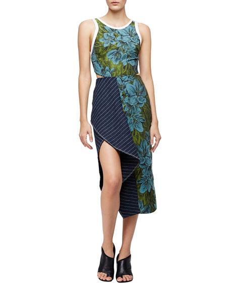 3.1 Phillip Lim Sleeveless Floral Dress w/ Striped Trim, Leaf/Hydro