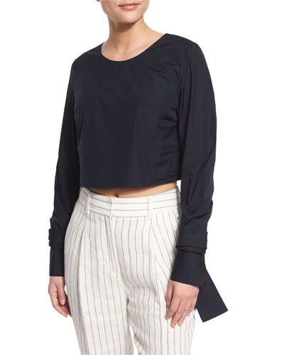 Long-Sleeve Cropped Poplin Top, Blue