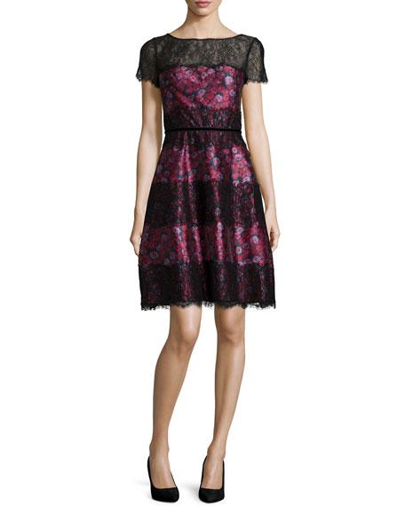 Kay Unger New York Short-Sleeve Floral-Print Dress, Multi