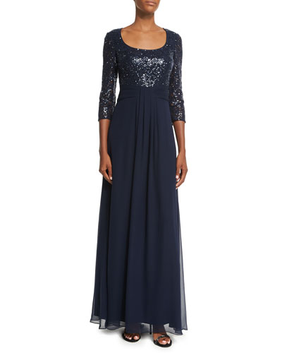 3/4-Sleeve Sequined Combo Gown
