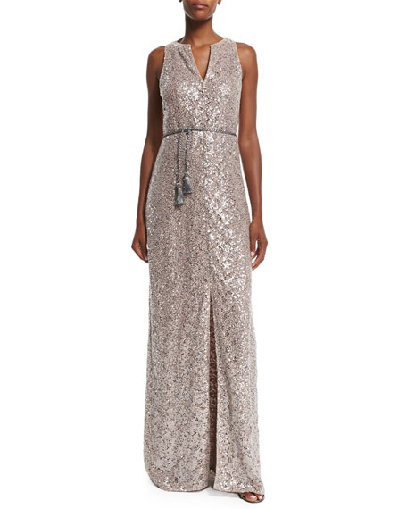 Kay Unger New York Sleeveless Sequined Lace Column