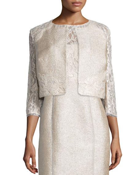 Kay Unger New York 3/4-Sleeve Lace Tweed Cropped