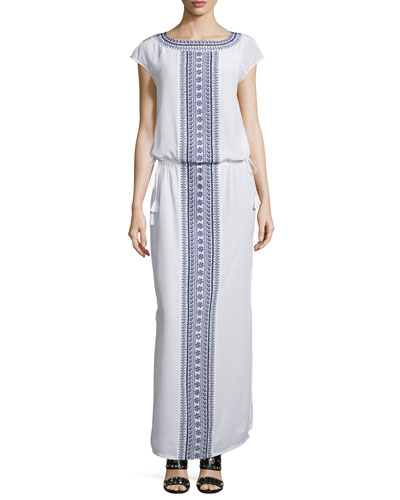 Embroidered Long Caftan Dress
