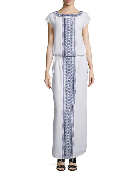 Tory Burch Embroidered Long Caftan Dress