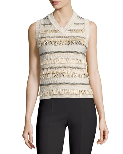 Striped Jacquard Sweater Vest with Fringe