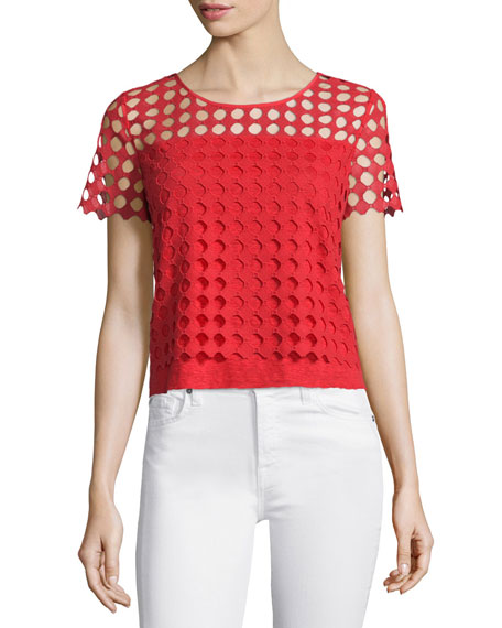 Tory Burch Lin Short-Sleeve Lace-Front Tee, Spark