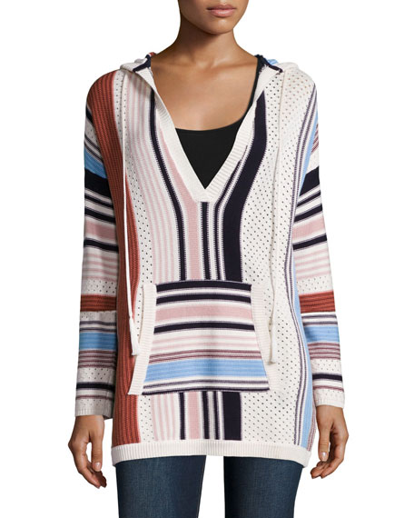 Tory Burch Baja Mixed-Print Hooded Sweater, New Ivory