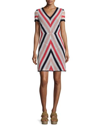 Short-Sleeve Crochet Dress