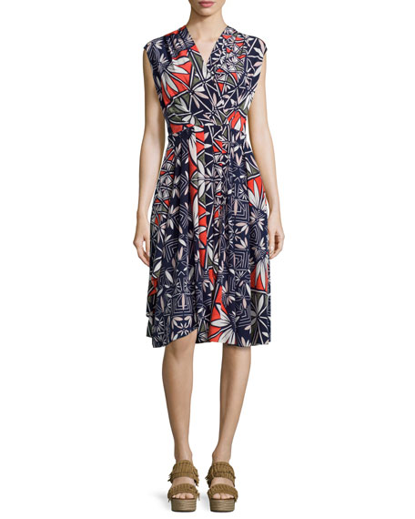 Tory Burch Pottery Sleeveless Cocktail Dress, Tory Navy