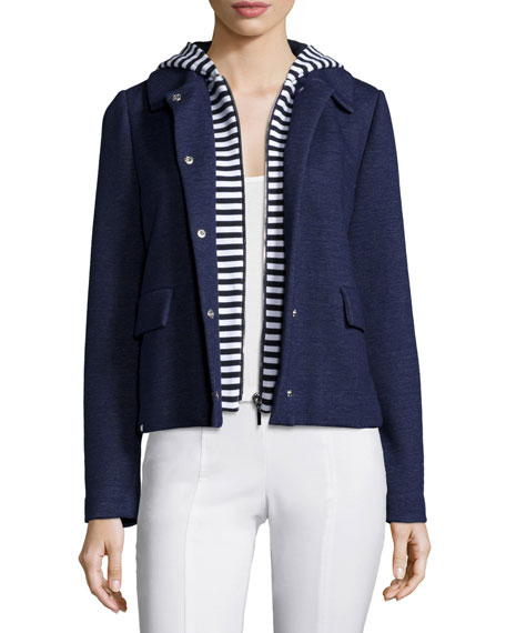 Tory Burch Snap-Front Jacket W/Hooded Inset