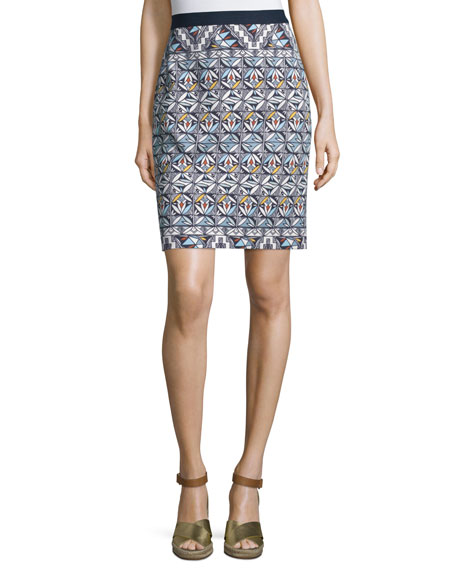 Tory Burch High-Waist Geometric-Print Pencil Skirt, Riviera Blue Acoma