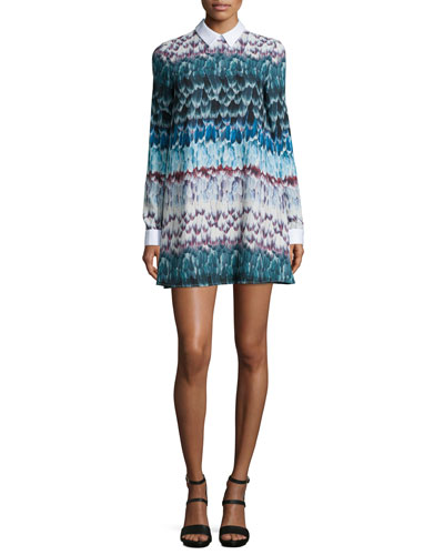 BCBGMAXAZRIA Maris Long-Sleeve Printed Babydoll Dress, Multi
