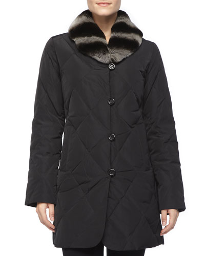 Puffer Coat with Removable Fur Collar