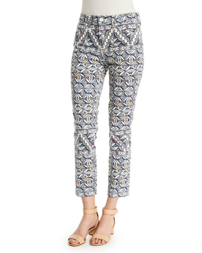 Acoma-Print Cropped Skinny Jeans, Riviera Blue