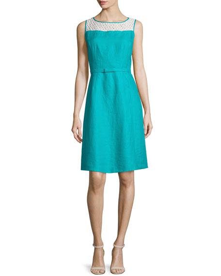 Lafayette 148 New York Hepburn Eyelet-Yoke Sleeveless Dress, Splash