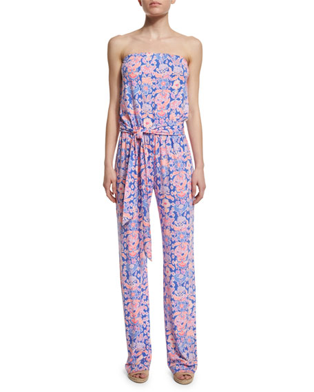 Lilly Pulitzer Tia Strapless Printed Jumpsuit, Iris Blue