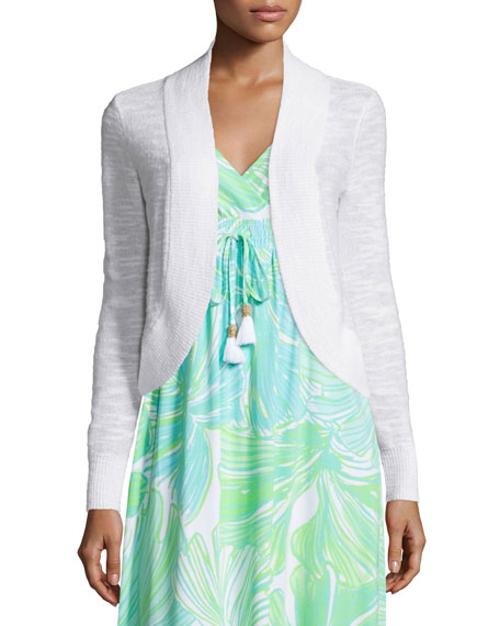 Lilly Pulitzer Mae Cropped Cardigan, Resort White