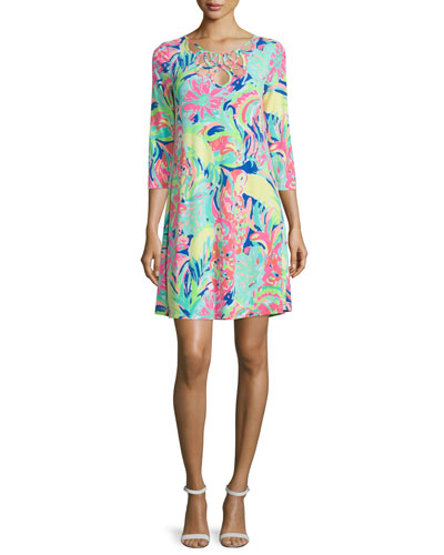 Lilianna Printed Loop-Neck Swing Dress