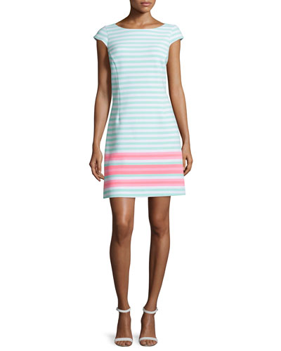 Lana Cap-Sleeve Engineer-Striped Dress, Poolside Blue