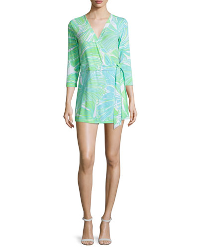 Karlie Printed Wrap Romper, Green Sheen
