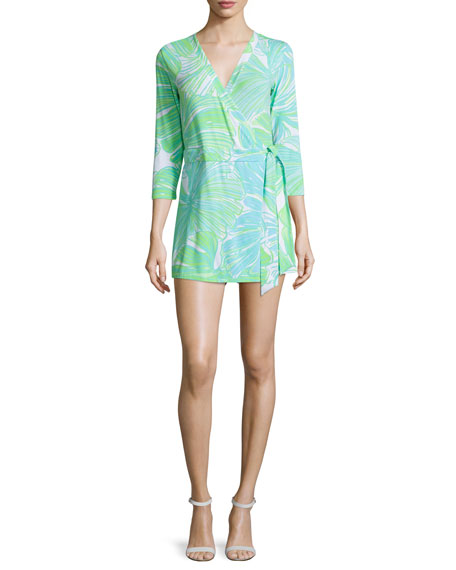 Lilly Pulitzer Karlie Printed Wrap Romper, Green Sheen