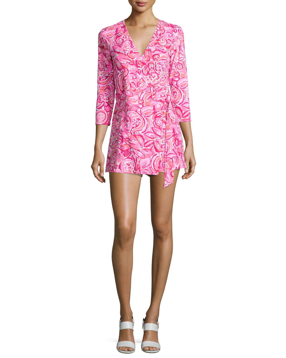 32596f462d3 Lilly Pulitzer Karlie 3 4-Sleeve Wrap Romper