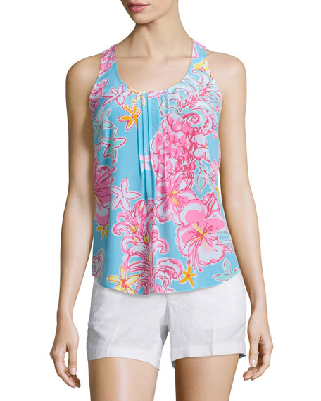 Lilly Pulitzer Dahlia Sleeveless Pleated Floral-Print Top