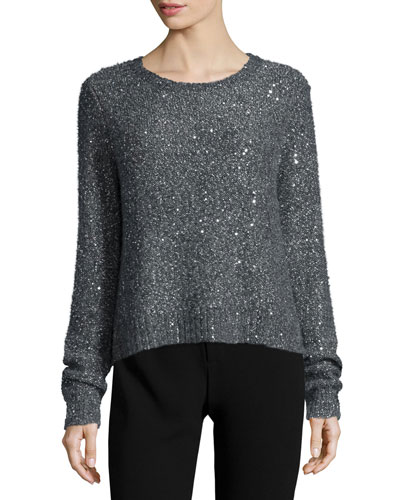 Embellished Long-Sleeve Pullover, Gray