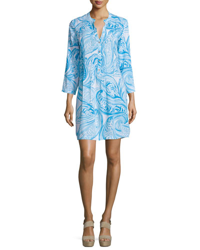 Sarasota 3/4-Sleeve Printed Tunic Dress