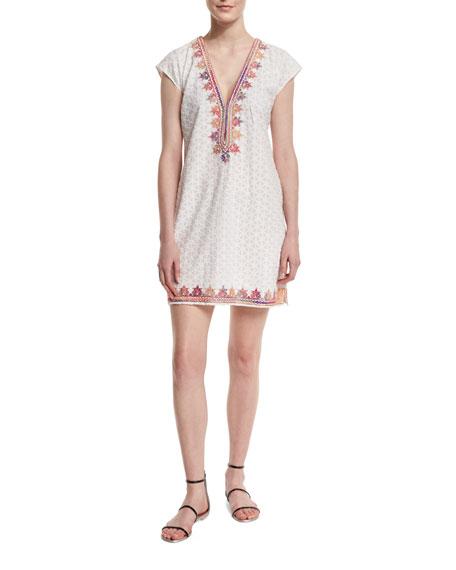 Calypso St. Barth Sashka V-Neck Embroidered Dress, Coconut