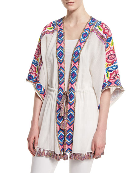 Calypso St Barth Liridia Half-Sleeve Embroidered Coverup, Coconut