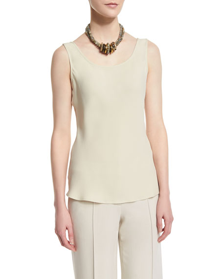 Lafayette 148 New York Scoop-Neck Bias-Cut Tank, Oro