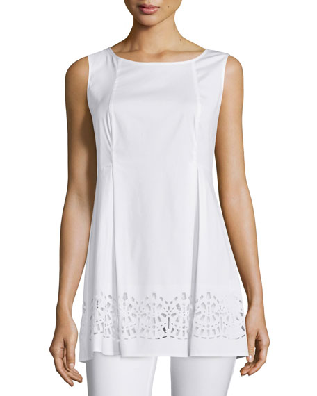 Lafayette 148 New York Zahaira Sleeveless Top W/Cutout Hem, White