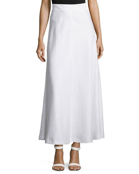 Lafayette 148 New York Gwenyth Linen Tea-Length Skirt, White