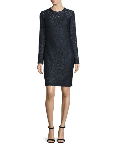 Long-Sleeve Lace Shift Dress, Arctic Navy