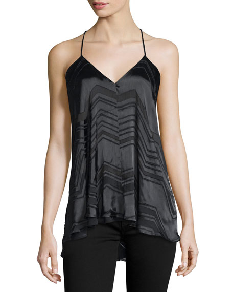 Vita Sleeveless Chevron-Striped Top, Black