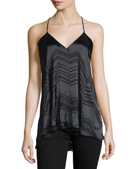 Vita Sleeveless Chevron-Striped Top, Black
