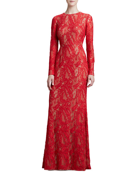 Long-Sleeve Lace Gown, Red