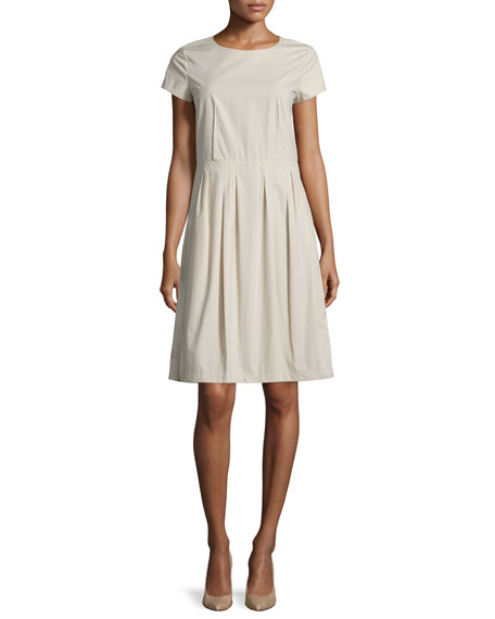 Lafayette 148 New York Gina Short-Sleeve Pleated Dress