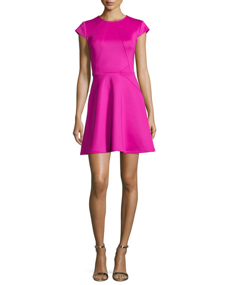 Cap-Sleeve Seamed Skater Dress, Purple