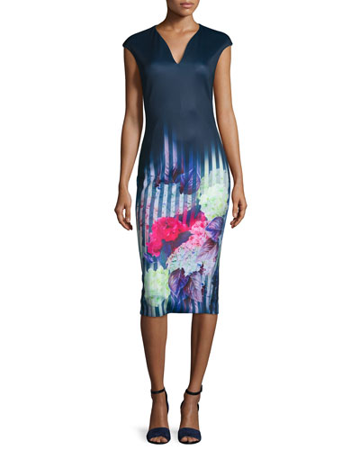 Vespera Hydrangea Midi Sheath Dress, Dark Blue