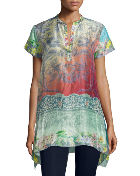Johnny Was Collection Nellis Short-Sleeve Printed Silk Tunic