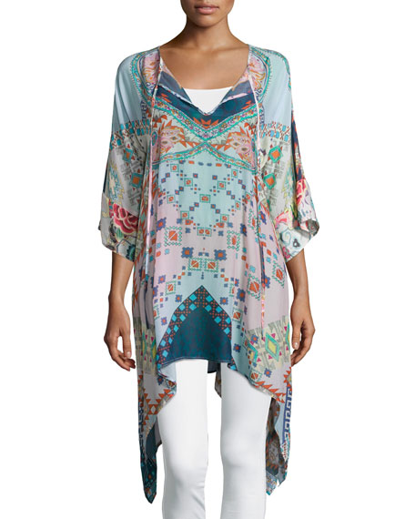 Johnny Was Collection Flash Tie 3/4-Sleeve Printed Tunic, Pink/Blue